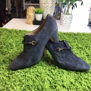 Auth GUCCI Vint. Grey/Blue Suede Booties Size 38.5